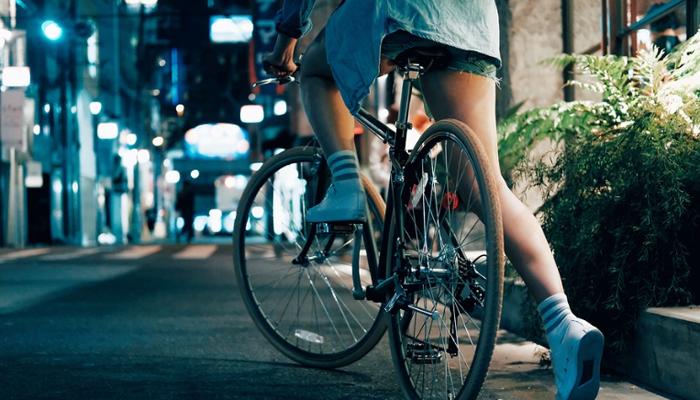 Woman riding on a bike